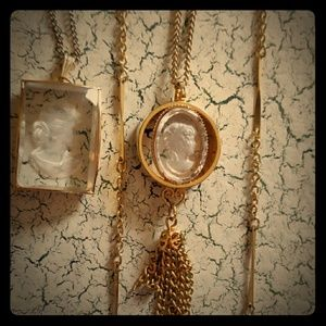 Two Gold-Toned Vintage Cameo Necklaces